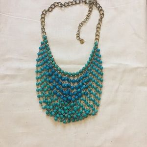 Turquoise Beaded Bibb Necklace